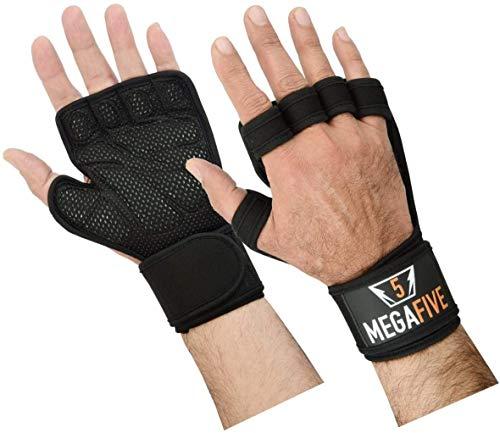 MEGAFIVE – Guantes Crossfit para Gimnasio Entrenamiento, la musculación, Fitness, Barra de tracción, Protege el muñecas para Hombre y Mujer (L)