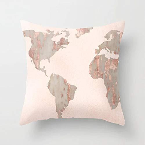 DQGZYF Marmer patroon kussensloop polyester perzik schil decoratie voor slaapkamer gooien kussen 45x45cm