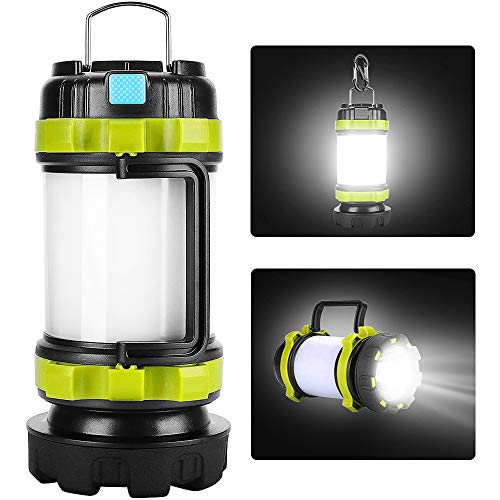 yotutun Camping Lantern Rechargeable, Lantern Flashlight LED with 800LM,6Light Modes,3800mAh Power Bank, IPX4 Waterproof,Perfect for Camping Light Hurricane,Emergency,Hiking,Outdoor (1 Pack)