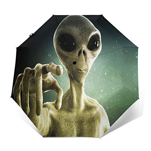 Regenschirm Taschenschirm Kompakter Falt-Regenschirm, Winddichter, Auf-Zu-Automatik, Verstärktes Dach, Ergonomischer Griff, Schirm-Tasche, UFO Alien Extraterrestrial 257