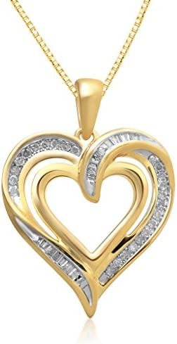 Jewelili 14K Yellow Gold over Sterling Silver 1 4cttw round and tapered baguette Diamond Heart product image