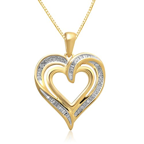 Jewelili 14K Yellow Gold over Sterling Silver 1/4cttw round and tapered baguette Diamond Heart Pendant Necklace, 18'' Box chain