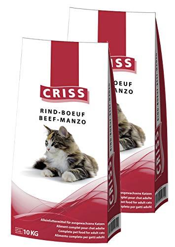 CRISS Manzo 20kg (2 x 10 kg) - Croccantini per Gatti Adulti - Made in Germany - Cibo Secco Gatto, mangime, alimento Completo, Alta qualità, 20000 gr, 20 kg