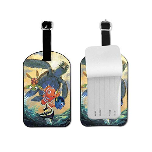 Cartoon Finding Nemo Lage Tags Suitcases Baggage Bags Adjustable Strap Leather Lage Tag for ID Labels 1 Pcs Set for Travel