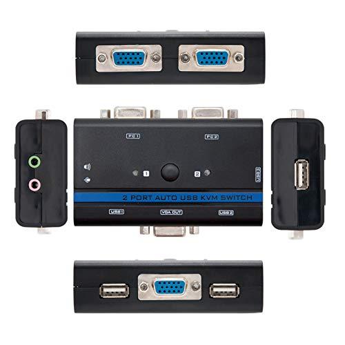 NANOCABLE 10.12.0001 - Switch Conmutador KVM para controlar 2 PCs con un Solo Teclado, Raton, Monitor y Altavoces, VGA USB 1U-2PC con Cable, Negro