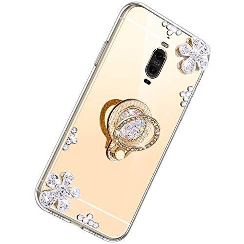 Coque pour Huawei Mate 9 Pro,Diamant Bling Coque Ultra Slim Cristal Brillant Reflet Miroir Case avec 360 Degrés Rotation Bague Glitter Anneau Flex Soft Gel en TPU Silicone Housse Bumper Cover