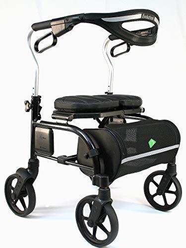 Evolution Trillium Lightweight Medical Walker Rollator with Seat, Large Wheels, Brakes, Backrest, Basket for Seniors Indoor Outdoor use (Regular, Carbon Black)
