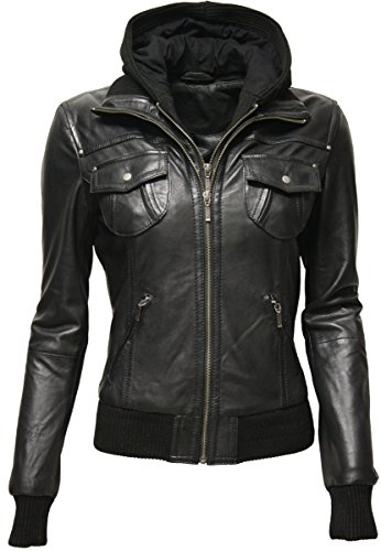Zimmert Ledermoden Damen Übergangsjacke Leder-Jacke MIt Kapuze FIBI Slim-Fit (44, Schwarz)