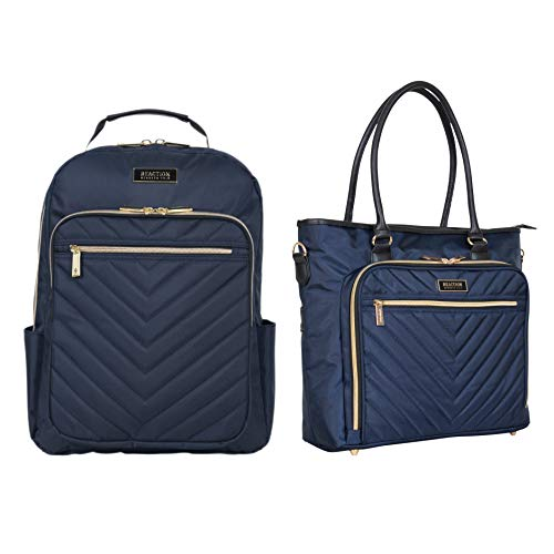 Kenneth Cole Reaction Chelsea Chevron 15' Laptop & Tablet Business Tote W/Removable Shoulder Strap, Navy Tote & Backpack, Backpack Set