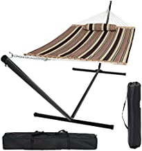 2 Person Double Hammock with Stand Heavy Duty 550 lbs Capacity with Spreader Bars and Pillow, 15 Ft, Backyard Outdoor Storage Bags (Dark Brown Stripes)