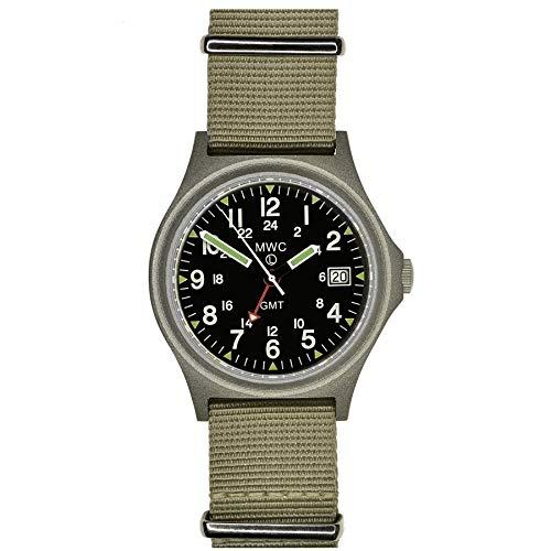 MWC GMT - Reloj militar de cuarzo para hombre, fecha, 100 m, doble pulsera Nato