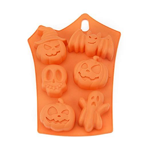 RainBabe Moule à Gâteau 6 Trous Type Halloween à la Vapeur pour Micro-Ondes Moule à Outils de Cuisson en Silicone