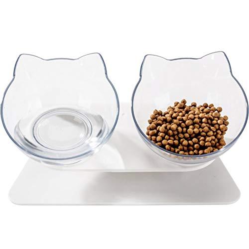 Cuencos para Gatos Furpaw, Cuenco de Comida Ajustable Antideslizante para Gatos con Soporte Elevado, alimentador Lento automático 2 en 2 para Cachorros de Gatitos (Transparente)
