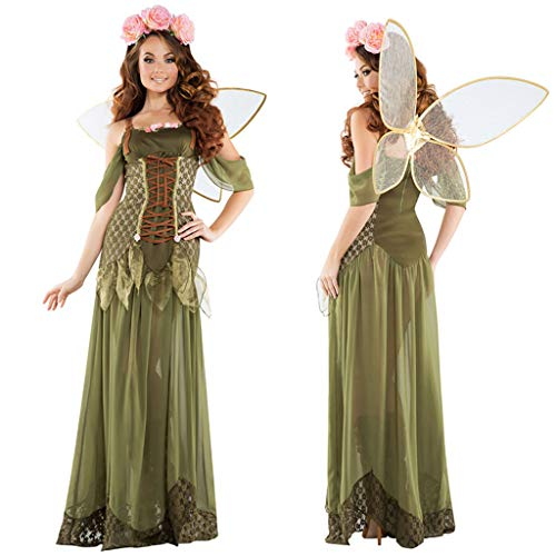 Cuentos de Hadas Vestido de ángel Elf Flor de Hadas Verde Bosque Carnaval de Halloween Navidad Cosplay Disfraz Adulto De Las Mujeres,Green-M