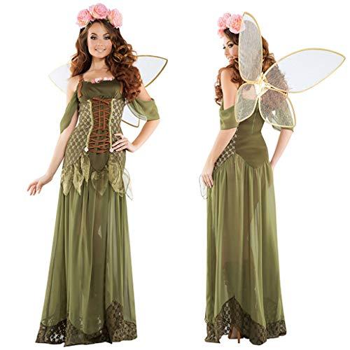 1-1 Märchen Erwachsene Frauen Cosplay Wald grüner Elf-Blumen-Fee Engel Kleid Halloween Karneval Weihnachtsabendkleid,Green-XL