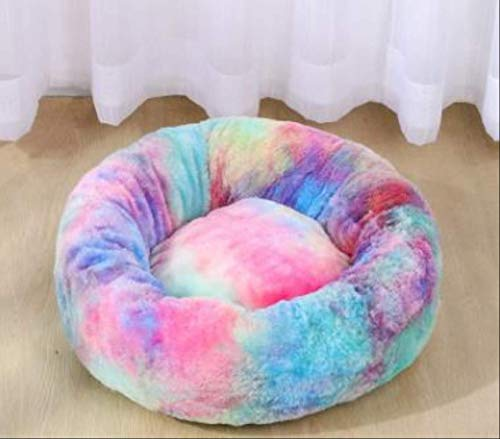Round Dog Kennel Ultra Soft Washable Dog And Cat Cushion Bed Pet Dog Bed Comfortable Donut Cuddler Winter Warm Sofa 80cm 18kg sleep Rainbow blue