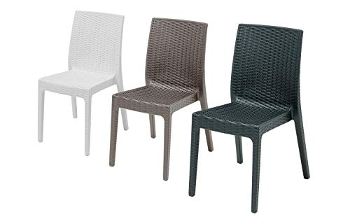 Silla de ratán para exterior, modelo Chiara, sin reposabrazos, para salón de exterior, sillas apilables, diseño fabricado en Italia, 55 x 46 x 85 cm, disponible en color antracita, gris o blanco