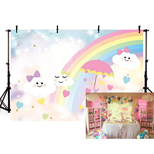 MEHOFOTO Photo Background Cute Cartoon Rainbow White Cloud Sky Umbrella Princess Bow Love Girl Birthday Party Decoration Banner Backdrops for Photography 7x5ft