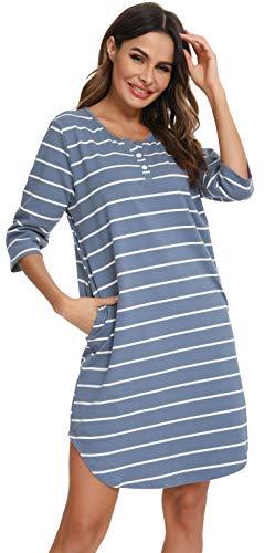 Vlazom Camisones Mujer Verano Manga Corta Pijamas Mujer Verano Camisón de Mujer Rayas Suave Vestido para Dormir S-XXL,M,Cielo Azul