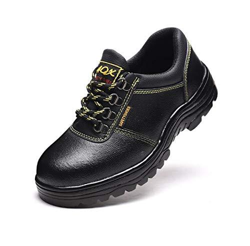 AZLLY Heren Schoenen Lederen Schoenen, Zwarte Mannelijke Arbeidsverzekering, Schoenen, Anti-Smashing, Anti-Piercing