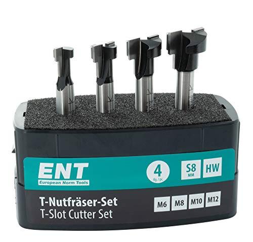 ENT 09046 4-tlg. HW T-Nutfräser-Set optimiert für M6 M8 M10 M12 Sechskantschrauben, HW, Schaft (S) 8 mm