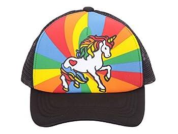 Unicorn Mesh Trucker Hat - Black w/Rainbow