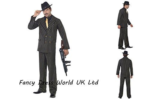 Gangster kostuum maffia Mob baas Spiv Fancy jurk mannen 1920 goud instripe kostuum, inc jas, broek, shirt voor en Tie 22414, Chest 38