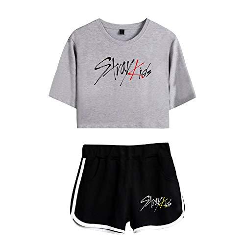Conjunto de Chandal Gimnasio Verano 2 Piezas Crop Top Camiseta y Pantalon Corta Sportivo T Shirt Manga Corta & Short Traje de Gym Sportwear Tracksuit Sweatsuit Casual A8474TXDKGYBKXXL