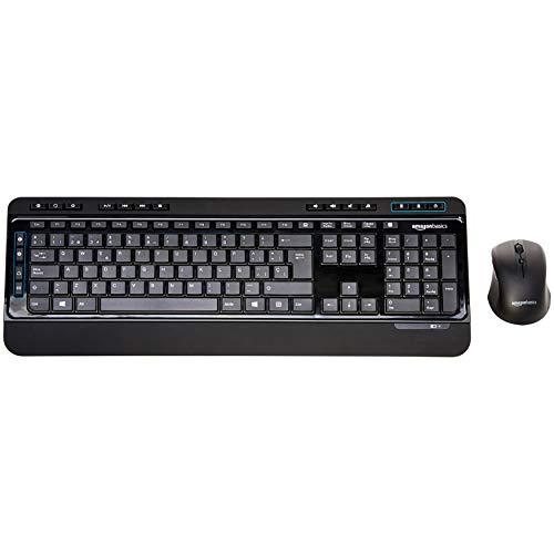 AmazonBasics - Juego de teclado y ratón inalámbricos, tamaño completo, versión ES (QWERTY)