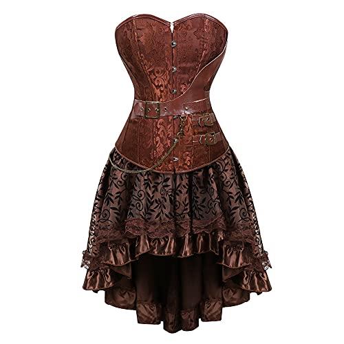 XUJY Corsé gótico para mujer, color marrón, con encaje y piel sintética y estilo gótico, estilo bustier vintage, corpiño, top rockabilly, A8., L
