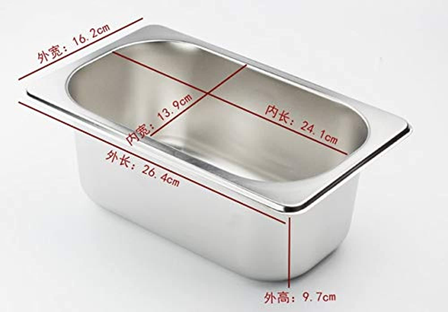 Square pots GN Pan Kitchen 304 Stainless Steel 1 9 1 6 1 4 1 3 Food pan Chafing Buffet Gastronorm Pan Containers Lid 0.6mm   1-4 26.4x16.2x9.7cm
