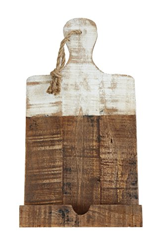 Creative Co-Op Distressed White Dipped Wood Tablet Holder