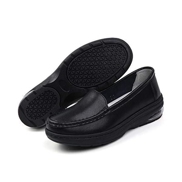 ZYEN Women's Nursing Shoes Comfortable Walking Slip On Nurse Restaurant Work Waterproof Slip-Resistant Lightweight Leather Loafers