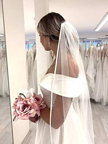Langer Hochzeitsschleier Kathedralenschleier Hochzeitsbraut Brautaccessoires Haarschmuck klassisch eleganter Schleier 305 cm Satinband Elfenbein