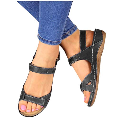Best Review Of Dainzuy Women's Summer Beach Wedge Sandals Bohemia Open Toe Ankle Strap Causal Outdoo...