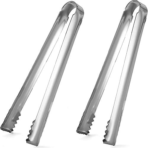 DUGATO Ice tongs, 2pcs 6.3 inch Stainless Steel with Sharp teeth make grabbing ice easy, for Ice Bucket Ice Sugar Cubes Coffee Bar Food Serving