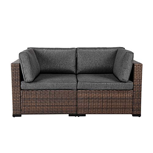 Kinsuite Wicker Loveseats Patio Sectional Corner Sofa Rattan Outdoor Thick Set w/Removable Cushions for Balcony Garden Poolside (Dark Grey)