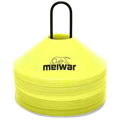 meiwar Markierungshütchen 50er Set mit Halter und Tasche Gelb