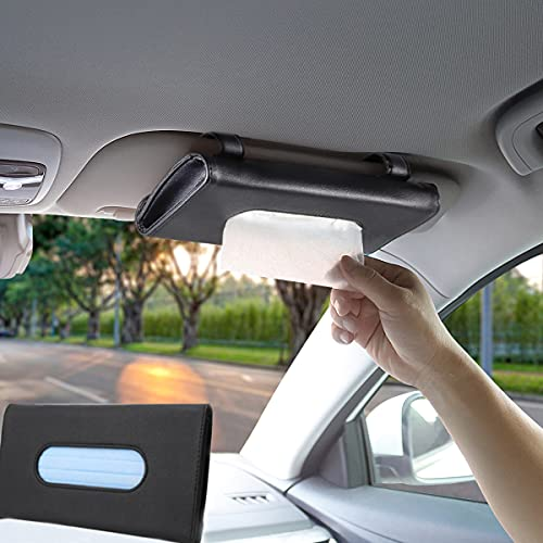 BANCHELLE Car Tissue Holder, Hanging Paper Towel Clip, PU Leather Tissue Box, Paper Carton, Paper Towel Box, Black