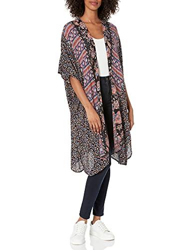Angie Women's Boho Long Duster Kimono Cardigan, Black, Medium