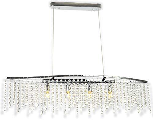 Arsamas LED Kristall Chrom Hänge Pendel Lampe Länge 80 x100cm kürzbar 4xG9 Led Licht