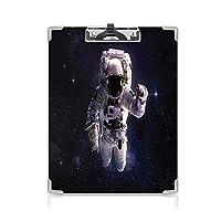 クリップボード A4 銀河 かわいい画板 宇宙空間の宇宙飛行士 A4 タテ型 クリップファイル ワードパッド ファイルバインダー 携帯便利天の川宇宙飛行士アポロアートのスターダスト星雲 ホワイトダークブルー