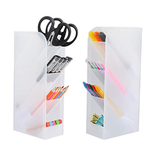 2 PCS Desk Organizer, Pencil Holder with 8 Compartments Pen Organizer for Home School Office Desk Supplies Accessories - Translucent White