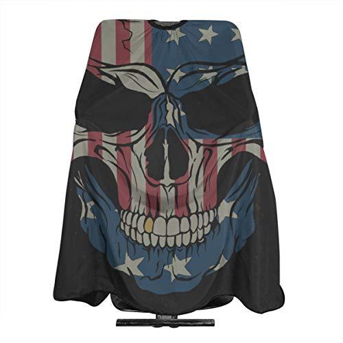Cráneo sobre fondo negro. Bandera de EE. UU. En él Capa de...