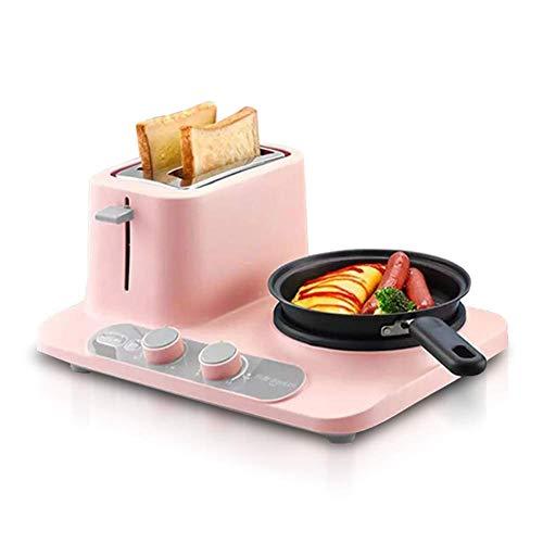 PLEASUR Multifunktion 3-in-1 Frühstücksmaschine Brotmaschine Backmaschine Brotmaschine Toaster Backen Heizung Abtauen Spiegeleier Gekochte Eier, Pink