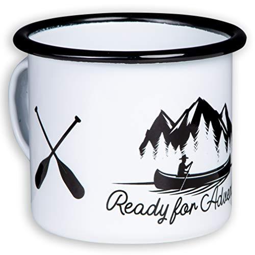 Ready for Adventure - Hochwertige Emaille Tasse mit Outdoor Design, leicht und bruchsicher, für Kanu, Kajak, Camping und Trekking - von MUGSY.de