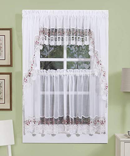 HCI Vintage Embroidered Sheer Kitchen Curtain - Rose (58' x 38' Long Swag Pair)