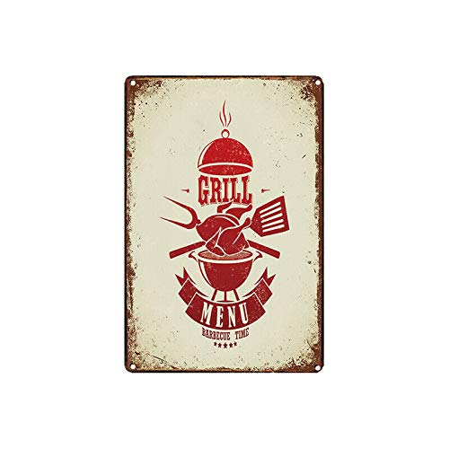 Grill Menu Poster Metal Indoor & Outdoor Home Bar Coffee Kitchen Wall Decor Metal Tin Wall Stickers 8x12 inch