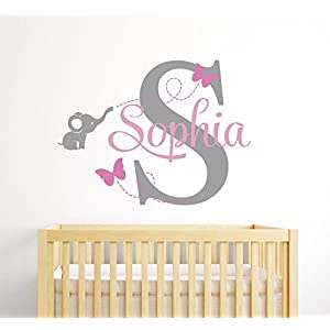 Custom Elephant Name Wall Decal for Girls – Baby Room Decor – Nursery Wall Decals – Elephant Wall Decor
