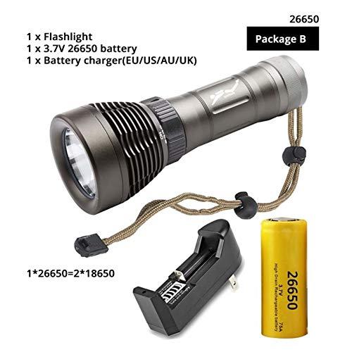 XXY Bucear Flashlight Dive Torch Puede bucear 100 Metros de Interruptor de rotación Render el índice RA80 Amphibious por 18650/26650 Batería (Emitting Color : Package B 26650)